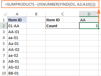 Case-sensitive formula to count cells containing certain text anywhere in them