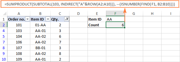 Formula to count filtered cells with a certain text string in any position