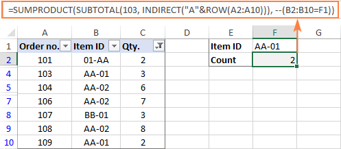 Formula to count filtered cells with particular text