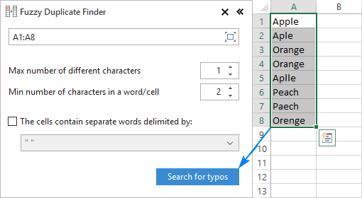 Configure the settings and start searching for typos.