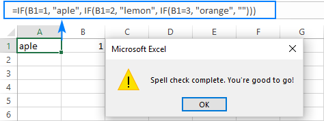Text in formulas is not spell checked.