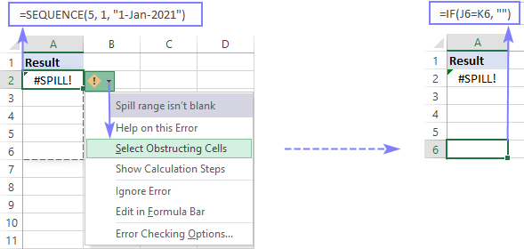 Select obstructing cells that prevent the formula from spilling.