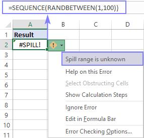 A volatile array is causing a SPILL error.