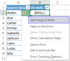SPILL error is caused by a dynamic array within a table.