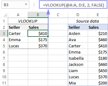 Use implicit intersection to limit an array or range to one lookup value.