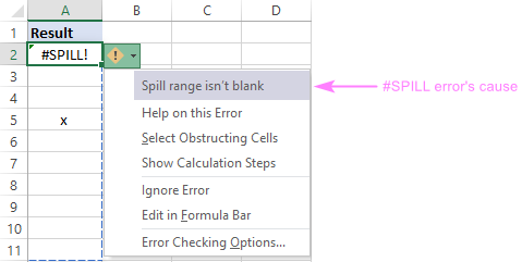 What is causing #SPILL in Excel