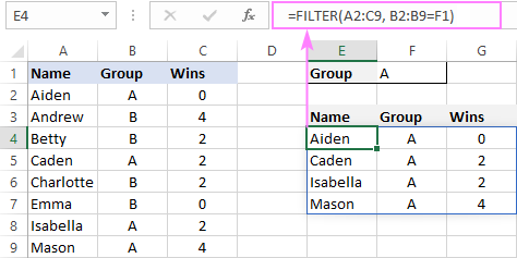 Spill in Excel