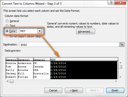 Set the desired format for split cells.