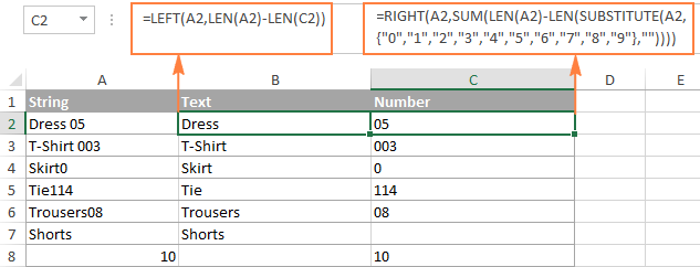 A column of strings is split to text and numbers