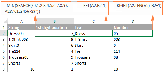Excel: Split string by delimiter or pattern, separate text and numbers