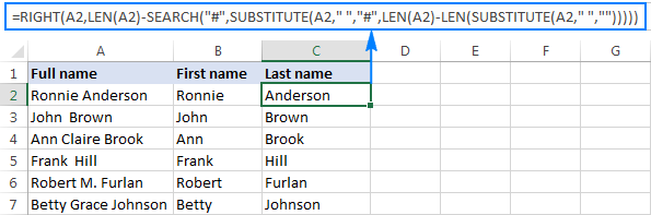 Formula to extract a surname when some of the original names include a middle name