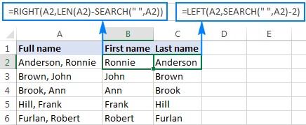 Separating first and last name from full name with comma