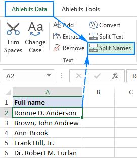 Split Names tool