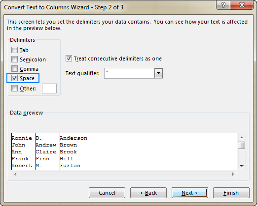 Select one or more delimiters that separate different parts of names.