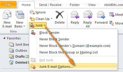 Open the Junk E-mail Options dialog.