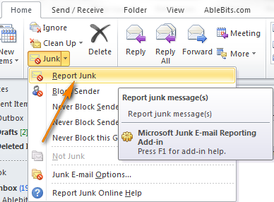 Select a junk message in the list of emails and click Report Junk.