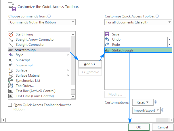 Adding a strikethrough button to the Quick Access Toolbar