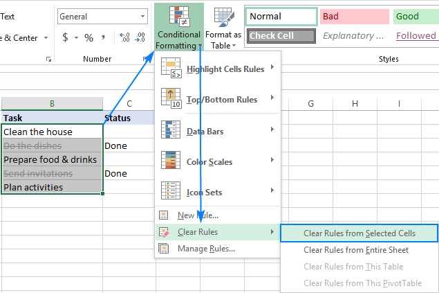 Deleting a strikethrough conditional formatting rule