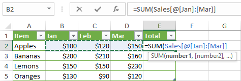 Creating a structured reference in Excel