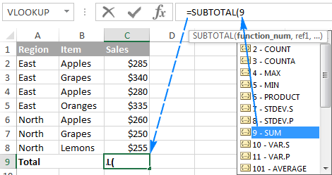 Making a Subtotal 9 formula in Excel