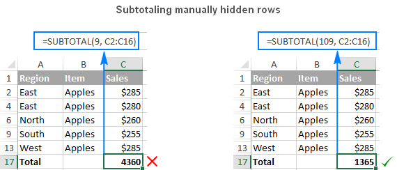 Subtotaling manually hidden rows