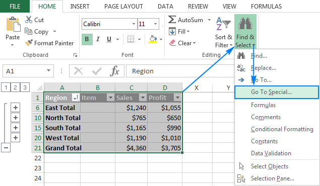 Copying subtotal rows to another location