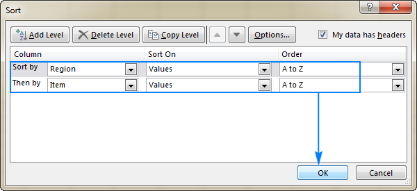 Sort data in all of the columns that you want to group your subtotals by.