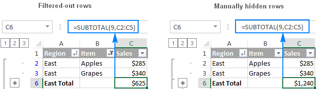 Excel Subtotal ignores filtered-out cells, but includes manually hidden rows