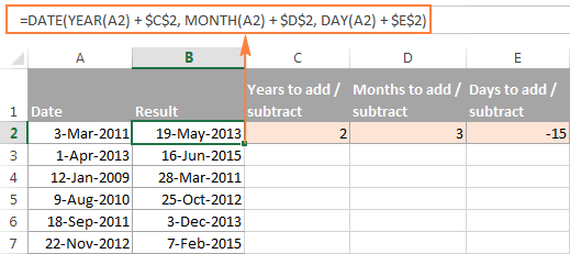 Subtract Dates In Excel Add Days Weeks Months Or Years To Date You look for two months in which the number of days between the first day. subtract dates in excel add days