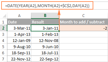 Adding / subtracting months to a date with Excel DATE function