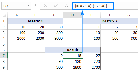 An array formula to subtract matrices