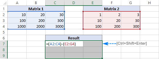 Creating a matrix subtraction formula