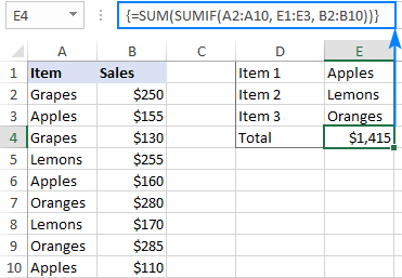 SUM and SUMIF formula with multiple criteria in different cells