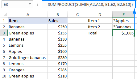 SUMIF using multiple criteria with wildcards