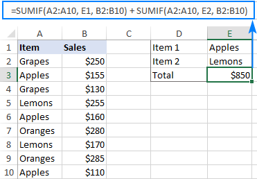 Excel SUMIF formula with multiple criteria