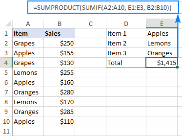 SUMPRODUCT and SUMIF to sum cells with multiple OR conditions