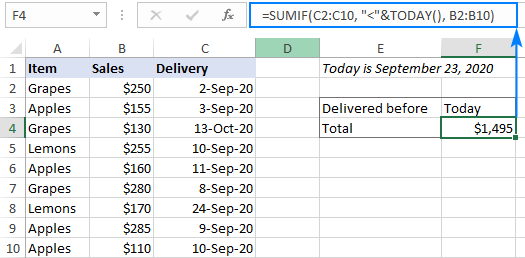 Sum cells using today's date for criteria
