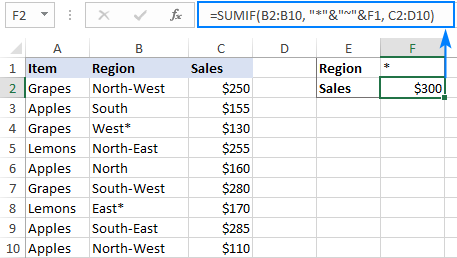 SUMIF formula with an asterisk as criteria