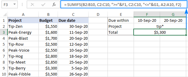 Formula to sum if between two dates and another criteria