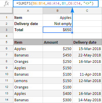 SUMIFS to exclude empty cells