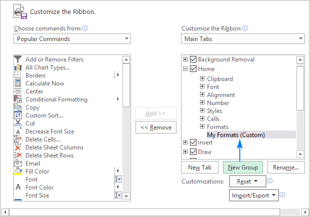 Creating a custom ribbon group
