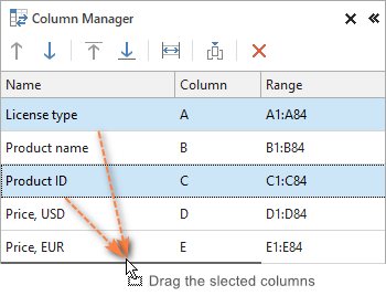 Dragging non-adjacent columns