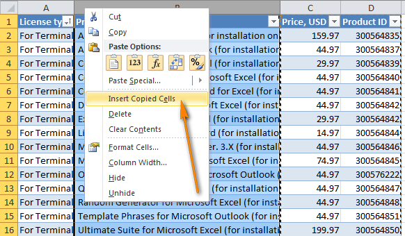 Select the column before which you want to insert the copied columns and choose Insert copies cells.
