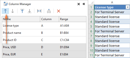 Moving columns in Excel