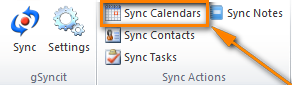 Click the appropriate button on the ribbon to have your Google calendar synced with Outlook.
