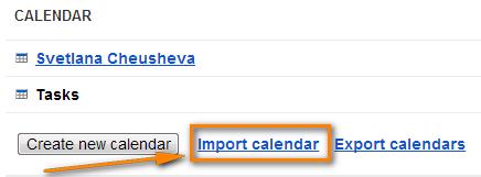 Click the Import Calendar link.