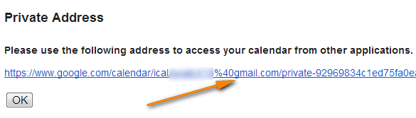 Click the calendar's URL that shows up.
