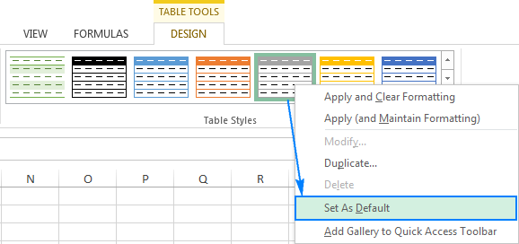 Changing the default table style in Excel