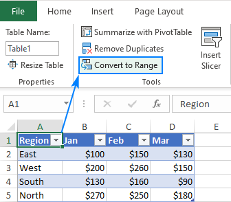 Remove a table in Excel
