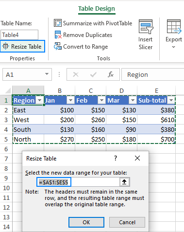 Resize a table.